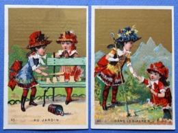 2 CHROMOS DORÉES.. ..BONBONS SUISSES.  J.F. DESHUSSES....ENFANTS ...FILLETTES.....DANS LES ALPES....AU JARDIN - Snoepgoed & Koekjes