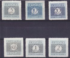 Croatie Portomarken Timbre Taxe N° 11 à 16  Année 1942 Neuf** - Croatie
