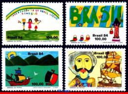 Ref. BR-1949-52 BRAZIL 1984 CHILDREN DRAWING, INDEPENDENCE WEEK,, SHIPS, MI# 2063-2066, SET MNH 4V Sc# 1949-1952 - Bateaux