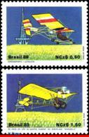 Ref. BR-2173-74 BRAZIL 1989 PLANES, AVIATION, ULTRA-LIGHT AIRCRAFT,, FLIGHT DUMONT�S, MI# 2310-11, MNH 2V Sc# 2173-2174 - Aerei