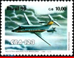 Ref. BR-2257 BRAZIL 1990 PLANES, AVIATION, AIRPLANE CBA 123,, AERONAUTICAL INDUSTRY, MI# 2371, MNH 1V Sc# 2257 - Brasile