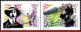 Ref. BR-2683A BRAZIL 1998 PLANES, AVIATION, SANTOS-DUMONT,FAMOUS, PEOPLE,ZEPPELIN,MI# 2880-81,SET MNH 2V Sc# 2682-2683 - Famous People