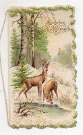 Y9316/ Geburtstag Klappkarte Rehe  Litho Glimmer Ca.1905 - Birthday