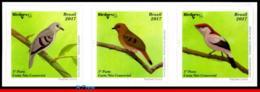 Ref. BR-V2017-04-2 BRAZIL 2017 BIRDS, BRAZILIAN BIRDS,BIRDPEX 8, , ENDANGERED, SET SELF-ADHESIVE MNH 3V - Brésil