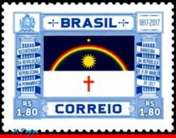 Ref. BR-V2017-10 BRAZIL 2017 - BICENTENNIAL REPUBLICAN, REVOLUTION IN PERNAMBUCO, MNH, FLAGS 1V - Timbres