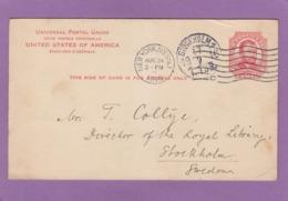 ENTIER POSTAL DE NEW-YORK POUR STOCKHOLM,SUÈDE,1916. - Postal Stationery