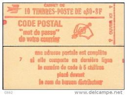 """CARNET 1816-C 2 Marianne De Béquet """"CODE POSTAL"""" Conf. 3, 4, 5 Ou 7 Fermé Parfait état TRES RARE - Booklets"""