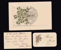 CARTE BRODEE ( Gui ) Avec Pochette Qui Se Soulève Pour Petite Carte Année 1924 - Embroidered