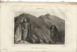 AFGHANISTAN IDOLES COLOSSALES DE BAMIAN 1835 INCISIONE DI LEMAITRE - Prints & Engravings