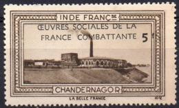 Vignette INDE FRANCse CHANDERNAGOR (Oeuvres Sociales De La France Combattante) - Neuve Sans Charnière  Mint Never Hinged - Turismo (Vignette)