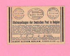 EU.6 Turquie Entier Postal Berlin 1.6.27. Repiqué = Abstempelungen Der Deutschen Post In Belgien Brüssel Gent Ostende - Stamped Stationery