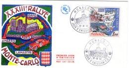 XXXIIIe  Rallye Monte-Carlo  -  Monaco  Premier Jour D'Emission - FDC - Cars