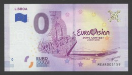 EUROVISION Banknote 2018 Lisbon - Portugal. 0 EURO. UNC. Variety II - EURO
