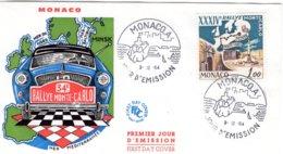 XXXIVe  Rallye Monte-Carlo  -  Monaco  Premier Jour D'Emission - FDC - Cars