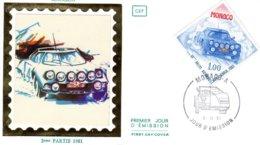 50eme  Rallye Monte-Carlo  -  Lancia Stratos  -  Monaco  Premier Jour D'Emission - FDC - Cars
