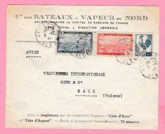 Col 13  Cie Des BATEAUX A VAPEUR   Poste Aéro + Coq D'Alger  3.10 46 Pour La Suisse.  Verso= Pas De Cachets    (TB ) - Algeria (1924-1962)
