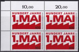 """BRD, 1990 Nr. 1459 **,  Viererblock Mit Eckrand Oben Links, """"100 Jahre Tag Der Artbeit"""" - Nuovi"""