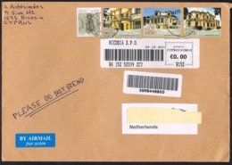 Cyprus 2011 Registered Cover To Holland With Neoclassical Buildings From 2007 - Architecture