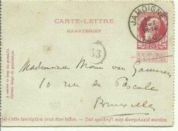 1909  Carte-Lettre De Jamoigne (très Beau Cachet) Vers Bruxelles - Letter-Cards