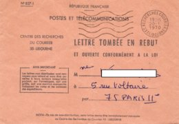 LSC 1970 - Cachet RECHERCHES COURRIER - LIBOURNE - Entête Lettre Tombée En REBUT - Marcophilie (Lettres)