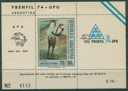 Argentinien 1974 PRENFIL Lama 1173 Block Postfrisch (C93797) - Blocs-feuillets
