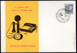 Yugoslavia Zagreb 1983 / Day Of PTT (Post) Workers In Croatia / Telephone - Correo Postal
