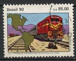Brésil - Brasilien - Brazil 1990 Y&T N°1978 - Michel N°2375 (o) - 95c Congrès Des Chemins De Fer - Brazilië