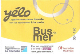 Ticket - Yélo - Bus De Mer - La Rochelle - [Transdev Maritime] - Europa