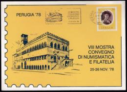 Italy Perugia 1978 / VIII Mostra Convegno Di Numismatica E Filatelia / Machine Stamp, Flamme / Palazzo Del Priori - Philately & Coins