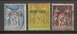 Port Said - 1899 - N°Yv. 9 - 10 - 11 - Type Sage - 3 Valeurs - Oblitéré / Used - Port-Saïd (1899-1931)