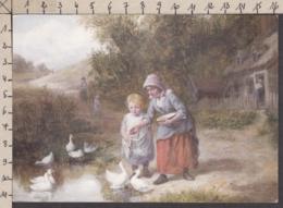 93798GF/ ILLUSTRATION, Enfants Nourrissant Des Oies/canards - Illustratori & Fotografie