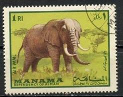 EAU - Manama 1969 Y&T N°PA19-3 - Michel N°179 (o) - 1r éléphant - Manama
