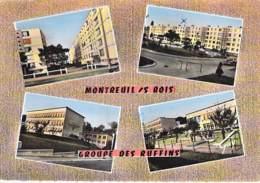 93 - MONTREUIL : Multivues - Groupe Des Ruffins ( HLM Immeubles Et GROUPE SCOLAIRE - CPSM Grand Format - Seine St Denis - Montreuil