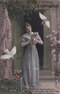 AK Liebesgruß - Frau Mit Tauben Und Blumen - 1918  (44239) - Frauen