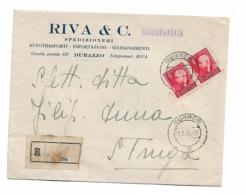 Albania 1942 Durazzo Autotransporti RIVA To BOAT POST R - Albanie