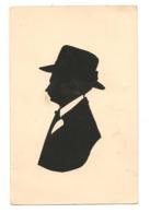 SILHOUETTE HOMME AVEC CHAPEAU Papier Noir Découpé - Scherenschnitt - Silhouette