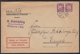 Dülmen 1927 Postzustellungsurkunde Pfändungsbeschluß Gerichtsvollzieher   (17451 - Postzegels