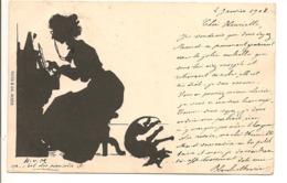 H V M Illustrateur SILHOUETTE FEMME AU PIANO ET CHIEN Humour DOS SIMPLE - Silhouettes
