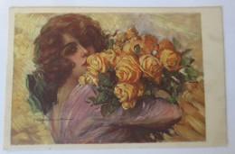 Künstlerkarte, Frauen, Mode,Blumen, Rosen, 1926, Signiert   ♥ (48182) - Künstlerkarten