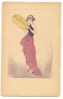 Illustrateur FEMME ÉLÉGANTE A L'ÉVENTAIL EN PLUMES Gravure - 1900-1949