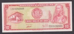 PERU BANKNOTE 10 SOLES , 1972 - Peru