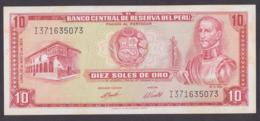 PERU BANKNOTE 10 SOLES , 1974 - Peru