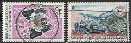 New Caledonia  1968  Sc#358 Butterfly & 371 Car Used  2016 Scott Value $5.25 - Gebraucht