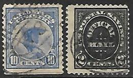 US  1910  Sc#O121  2c Official  & 1911 Sc#F1 10c Registered Used   2016 Scott Value $17 - Service