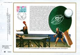 """"""" 50 ANS DE LA FFTT / PING PONG / SECRETIN / BERGERET """" Sur Feuillet CEF 1er Jour N°té De 1977 N° YT 1961. Parfait état. - Table Tennis"""