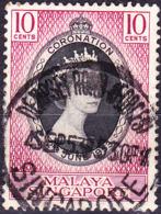 Singapur - Krönung Von Königin Elisabeth II. (MiNr: 27) 1953 - Gest Used Obl - Singapur (...-1959)