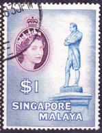 Singapur - HM + Denkmal Sir Stamford Raffles (MiNr: 40) 1955 - Gest Used Obl - Singapur (...-1959)