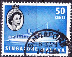 "Singapur - HM + Passagierdampfer M. S. ""Chusan"" (MiNr: 39) 1955 - Gest Used Obl - Singapur (...-1959)"