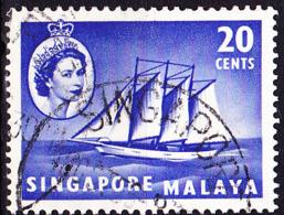 Singapur - HM + Schoner, Kokos-Inseln (MiNr: 36) 1955 - Gest Used Obl - Singapur (...-1959)