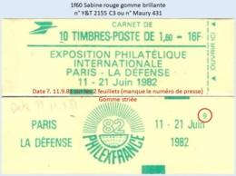 FRANCE - Carnet Conf. 9, Date ?.11.9.81, Gomme Striée - 1f60 Sabine Rouge - YT 2155 C3 / Maury 431 - Usage Courant